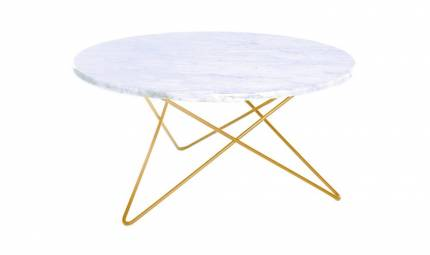 O Table i mässing och marmor.